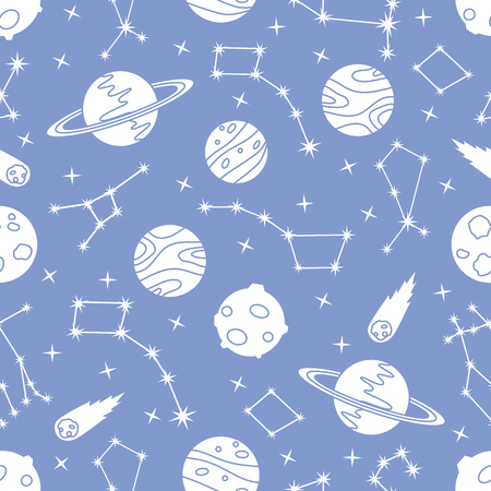 Seamless vector pattern with constellations, planets, Saturn, comet. Space exploration. Astronomy. Science. Design for astronomy apps, websites, print. Stock Illustratie