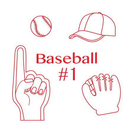 Vector illustration with baseball foam finger, ball, cap, glove. Sports background. Design for banner, poster or print.