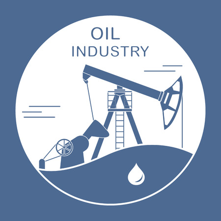 Vector illustration with equipment for oil production. Oil industry. Working oil pump. Stockfoto - 120470028