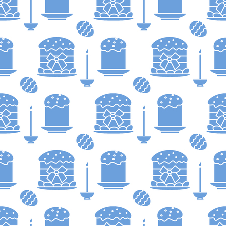 Seamless pattern with Easter cakes, candle, decorated eggs. Happy Easter. Festive background. Design for banner, poster or print.