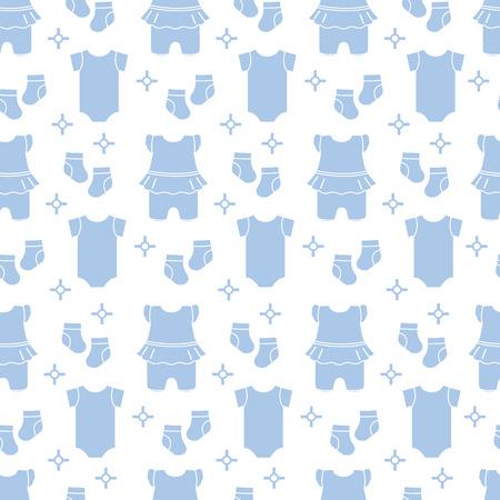 Nahtloses Muster mit Babykleidung. Vektor-Illustration mit Slip, Socken, Body. Neugeborenes Baby Hintergrund.