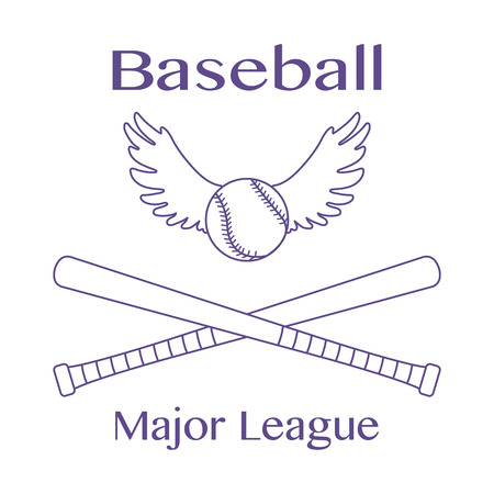 Vector illustration with baseball bats, ball with wings. Sports background. Design for banner, poster or print. Иллюстрация