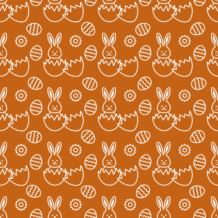 Seamless pattern with Easter Bunny looking out of an egg and decorated eggs. Happy Easter. Festive background. Design for banner, poster or print.