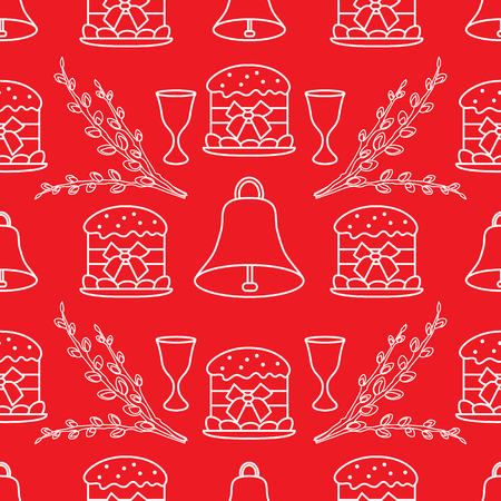 Seamless pattern with Easter cakes, willow branches, bells, wine glasses. Happy Easter. Festive background. Design for banner, poster or print.