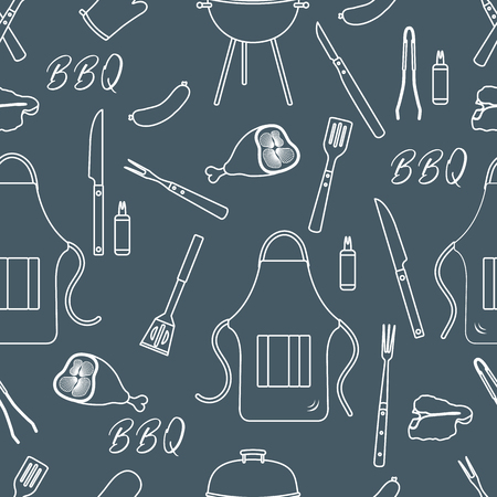 Seamless pattern with grill and barbecue tools. BBQ party background. Design for party card, banner, poster or print. Ilustração