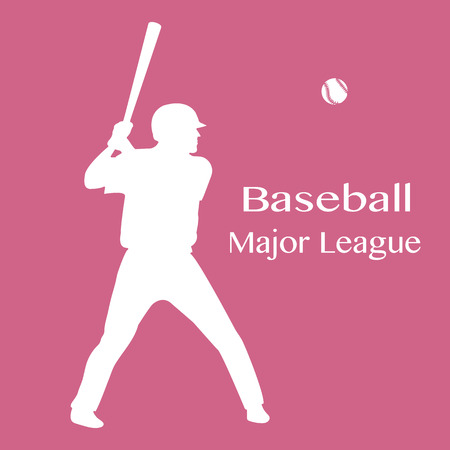 Vector illustration with baseball player standing with bat in his hands and ball. Sports background. Design for banner, poster or print. Ilustração