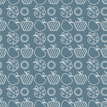Seamless pattern with apples. Vector illustration with apple and leaf. Fruit background. Design for poster, textile, greeting card. Ilustração