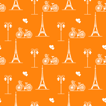 Seamless pattern with famous tower, bicycle, lantern, hearts. Travel and leisure. Valentines Day. Romantic background. Ilustração