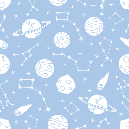Seamless vector pattern with constellations, planets, Saturn, comet. Space exploration. Astronomy. Science. Design for astronomy apps, websites, print. Ilustração