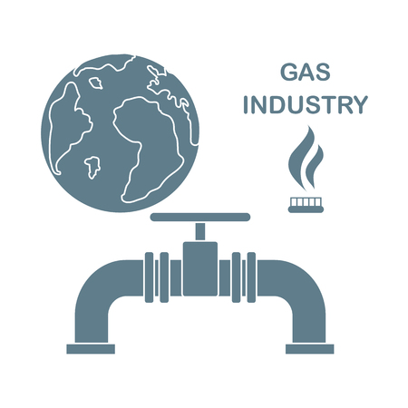 Vector illustration with equipment for gas production and earth. Gas industry. Burner gas stove, globe, gas pipe.