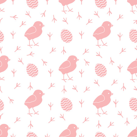 Seamless pattern with chicken, traces of chicken, decorated eggs. Happy Easter. Festive background. Design for banner, poster or print.