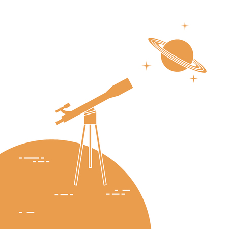Vector illustration with telescope, planet Saturn with ring system. Astronomy. Design for banner, poster, textile, print. Ilustração