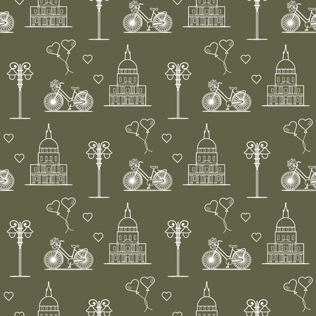 Seamless pattern with famous building, bicycle, lantern, balloons, hearts. Travel and leisure. Valentines Day. Romantic background.