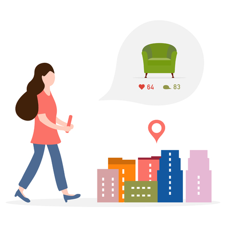 Application of augmented reality: AR for navigation in city. Girl with modern device plans to buy armchair in a mall in city by comments, likes. Navigation pointers to shops.