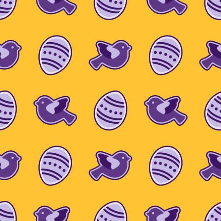 Vector seamless pattern with Easter eggs, birds. Happy Easter. Festive background. Design for banner, poster or print. Ilustração