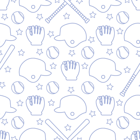 Vector seamless pattern with baseball bats, ball, helmet, baseball glove. Sports background. Design for banner, poster or print.