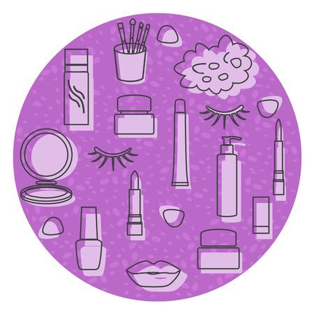 Vector illustration with eyelashes, lips, lipstick, mirror, brush, cream, nail polish, spray, shower sponge. Decorative cosmetics, care products, makeup background. Glamour fashion vogue style. 일러스트