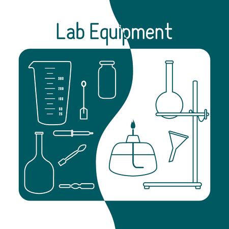Vector science illustration with flasks, equipment stand, burner, tools. Laboratory equipment. Education elements. Chemistry, biology, medicine. Ilustração