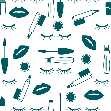 Vector seamless pattern with mascara, eyelashes, lips, lipstick, lip gloss. Decorative cosmetics, makeup background. Glamour fashion vogue style. Design for banner, poster or print.