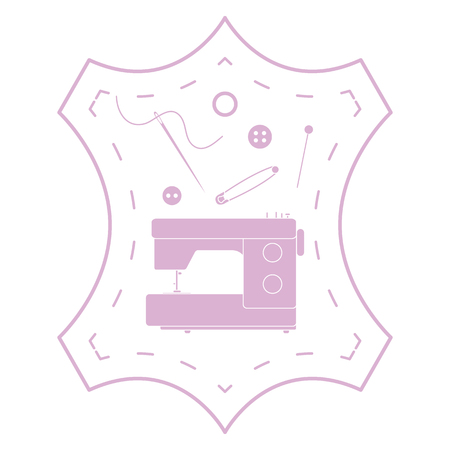 Vector illustration with tools and accessories for sewing. Button, thread, sewing machine, pins, needle. Template for design, fabric, print. Иллюстрация