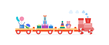 Funny vector illustration with train carries toys: pyramid, roly-poly toy, gifts, ball, drum, balloons. Happy New Year 2019, Christmas, Birthday. Sale, shopping concept.