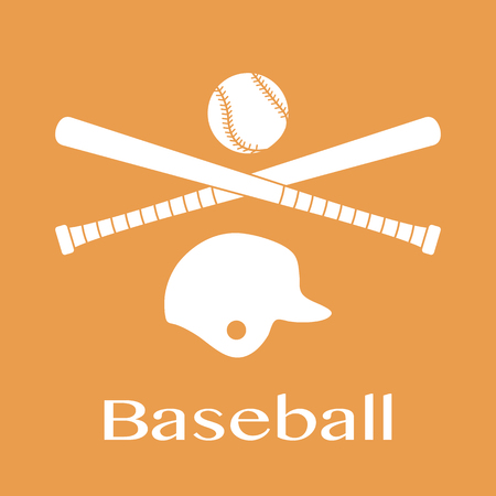Vector illustration with baseball bats, ball, helmet. Sports background. Design for banner, poster or print. 向量圖像