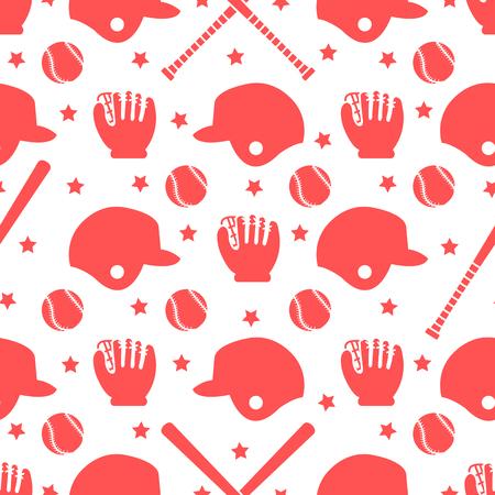 Vector seamless pattern with baseball bats, ball, helmet, baseball glove. Sports background. Design for banner, poster or print.