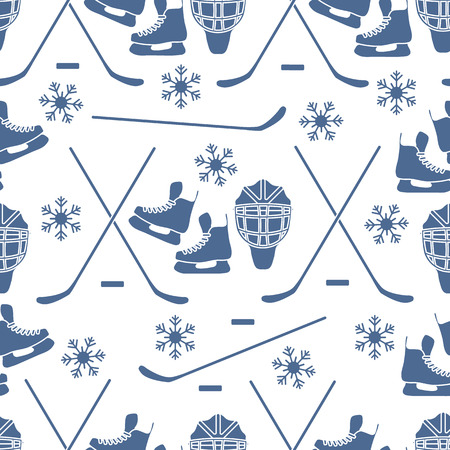 Seamless pattern with skates, goalkeeper mask, hockey stick, ice hockey puck, snowflakes. Winter sports background. Hockey equipment. Games, hobbies, entertainment.