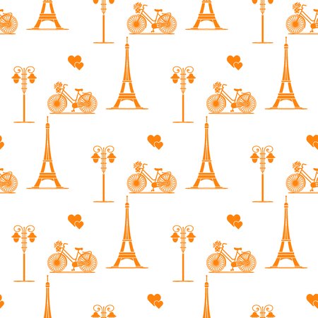 Seamless pattern with famous tower, bicycle, lantern, hearts. Travel and leisure. Valentines Day. Romantic background. Illustration