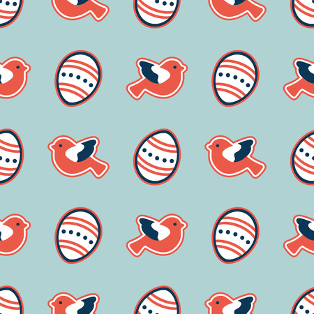 Vector seamless pattern with Easter eggs, birds. Happy Easter. Festive background. Design for banner, poster or print. Illustration