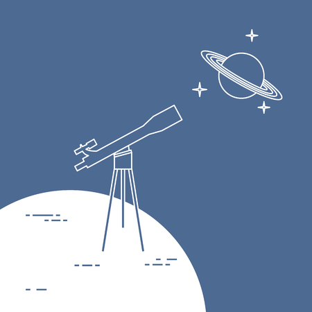 Vector illustration with telescope, planet Saturn with ring system. Astronomy. Design for banner, poster, textile, print. Illustration