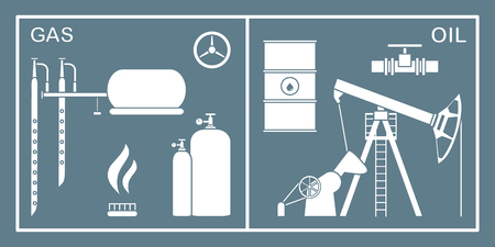 Vector illustration with equipment for oil and gas production. Oil industry, gas industry. Extraction and storage of oil and gas.