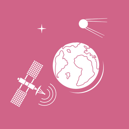 Planet Earth, satellite, orbital station vector illustration. Earth Day. Space exploration. Astronomy. Science. Design for astronomy apps, websites, print. Illustration