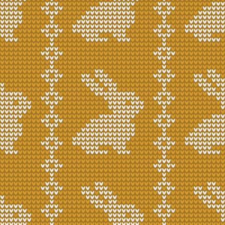 Vector seamless pattern with Easter bunny. Knitted background. Happy Easter. Festive backdrop. Design for banner, poster or print.