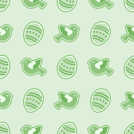 Vector seamless pattern with Easter eggs, birds. Happy Easter. Festive background. Design for banner, poster or print. Vettoriali
