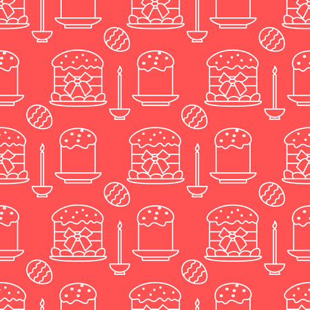 Seamless pattern with Easter cakes, candle, decorated eggs. Happy Easter. Festive background. Design for banner, poster or print. Illustration