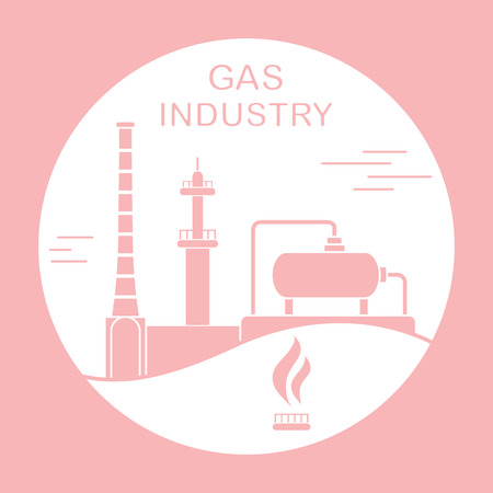 Vector illustration with equipment for gas production. Gas industry. Extraction, processing, storage.