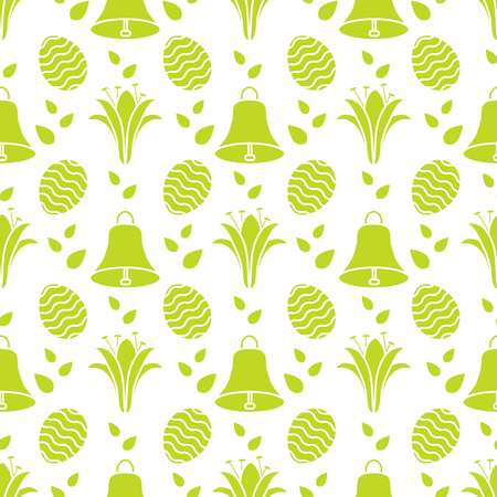 Seamless pattern with bells, lilies, decorated eggs. Happy Easter. Festive background. Design for banner, poster or print. Illustration