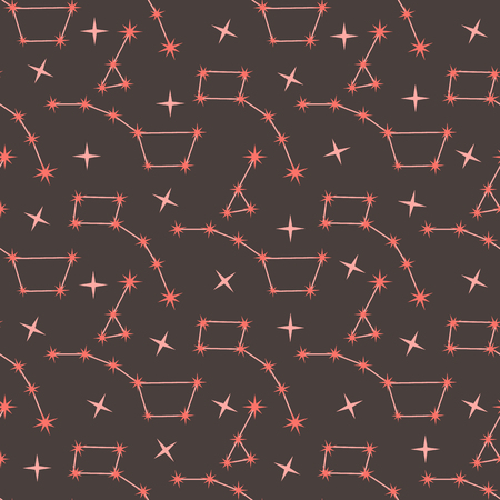 Seamless vector pattern with constellations. Space exploration. Astronomy. Science. Design for astronomy apps, websites, print. Illustration