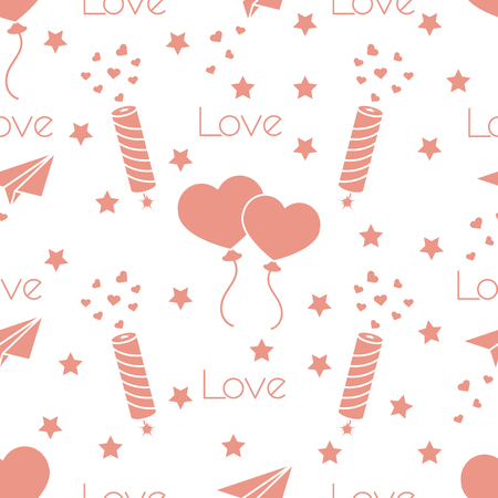 Seamless pattern with paper airplane, petard, balloons, hearts. Birthday, Valentines day, Mothers Day, Fathers day vector romantic background. Design for greeting card, poster or print.