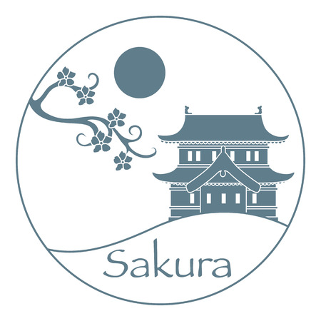 Vector illustration with sakura branch and old japanese castle. Japan traditional design elements. Branches of cherry blossoms. Travel and leisure. Illustration
