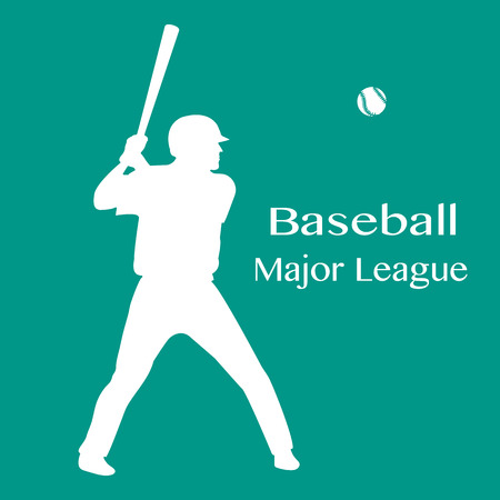 Vector illustration with baseball player standing with bat in his hands and ball. Sports background. Design for banner, poster or print. Ilustrace