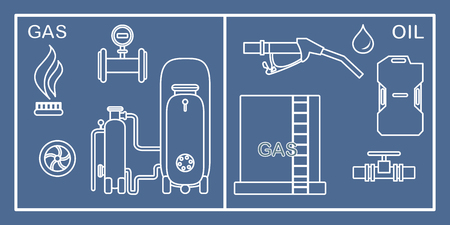 Vector illustration with equipment for oil and gas production. Oil industry, gas industry. Extraction, storage, using oil and gas.