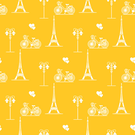 Seamless pattern with famous tower, bicycle, lantern, hearts. Travel and leisure. Valentines Day. Romantic background. Ilustrace