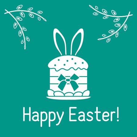 Vector illustration with Easter cake, bunny ears peeking from him, willow branches. Happy Easter. Festive background. Design for banner, poster or print.