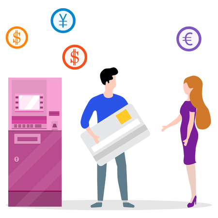 Vector illustration with people near ATM. Man with bank card, female assistant helping clients. Financial transactions using ATM. Consultant near automated teller machine for customer. Ilustrace