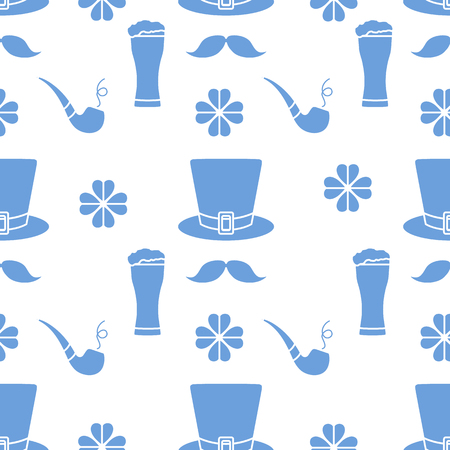 Seamless pattern with clover leaves, mustache, glass of beer, hat, smoking pipe. St. Patricks Day. Holiday background. Irish vector pattern. Design for banner, poster, textile, print. Ilustrace