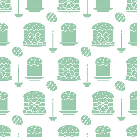 Seamless pattern with Easter cakes, candle, decorated eggs. Happy Easter. Festive background. Design for banner, poster or print. Ilustrace