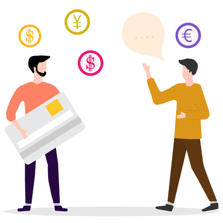 Vector illustration with man with bank card, male assistant helping clients. Financial services. Use of banking technology. Consultant for customer.