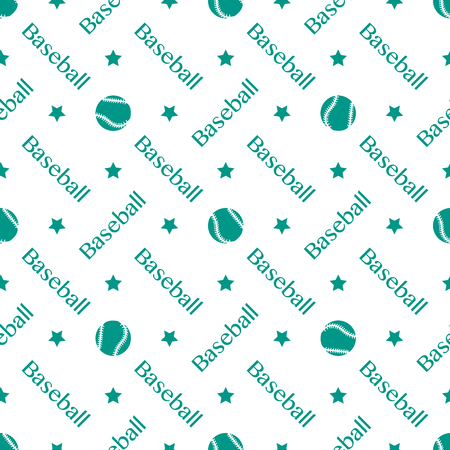 Vector seamless pattern with baseball balls and inscription baseball. Sports background. Design for banner, poster or print.